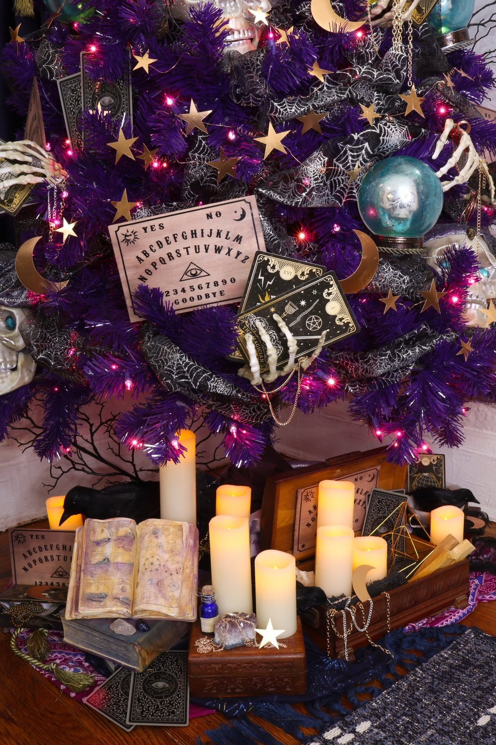 Psychic Fortune Teller Halloween Tree Diy and Treetopia Giveaway! #Halloween #Halloweendecor #halloweendiy #hauntedhouse #halloweentree #halloweenornamnets #psychic #fortuneteller #mystical #treetopia #halloweengiveaway #halloweenchristmastree #notsospookyhalloween #skeleton #fortune #vintagehalloween #purpletree