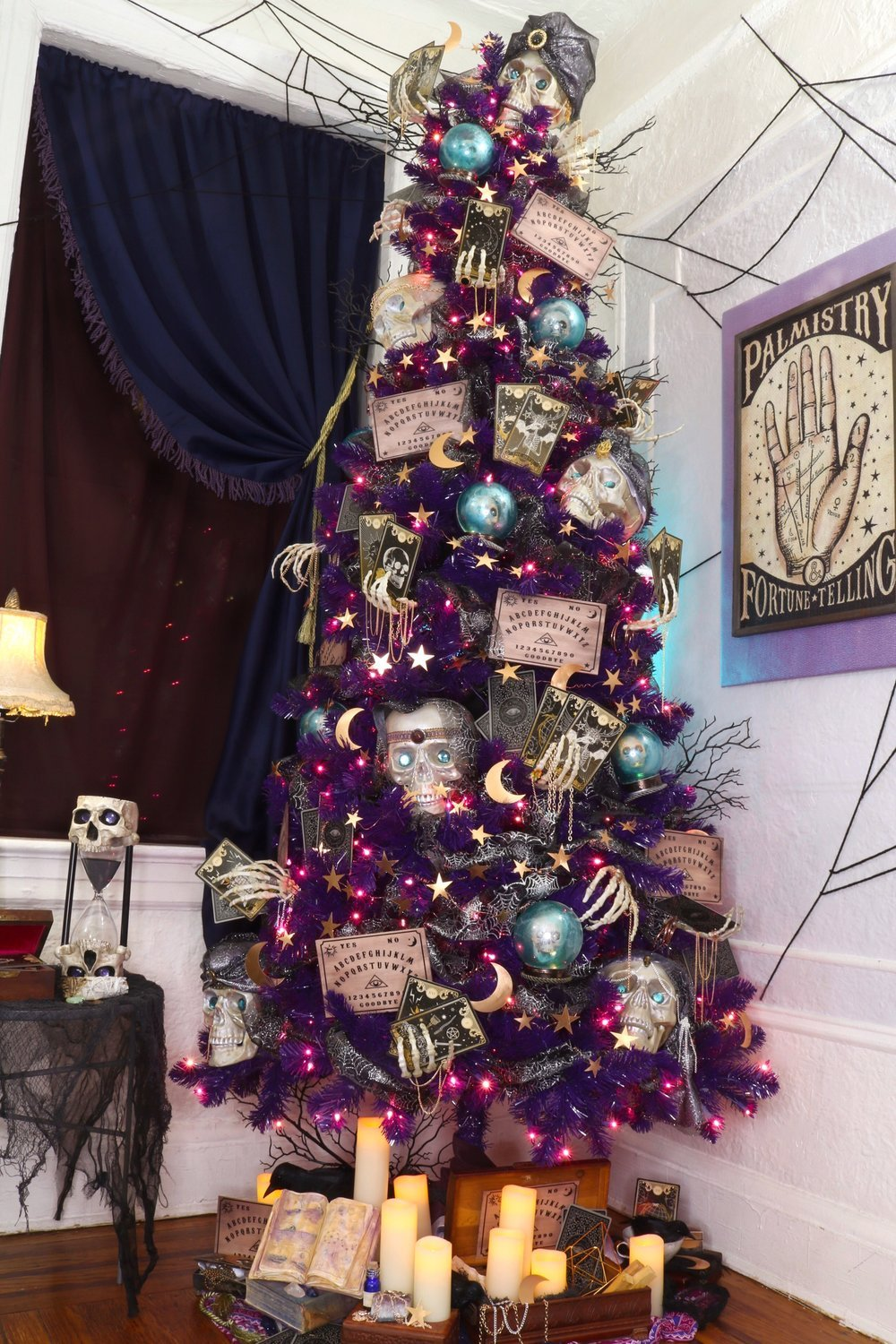 Psychic Fortune Teller Halloween Tree Diy and Treetopia Giveaway! #Halloween #Halloweendecor #halloweendiy #hauntedhouse #halloweentree #halloweenornamnets #psychic #fortuneteller #mystical #treetopia #halloweengiveaway #halloweenchristmastree #notsospookyhalloween #skeleton #fortune #vintagehalloween #purpletree #TreetopiaScaryRooms #TreetopiaHalloween #TreetopiaScavengerHunt
