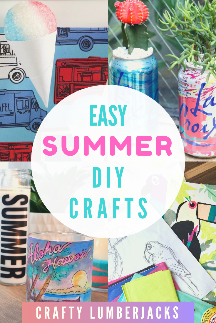 Easy Summer crafts to do when you're bored! #summercrafts #summer #summerdiy #summervacation #crafting #crafts #diycrafts #tissuepaperart #candles #snowcones #lacroix #houseplants