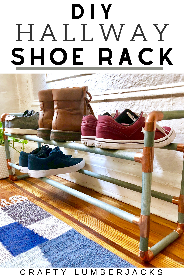 DIY 2 Tier Hallway Shoe Rack - Keep your shoes organized in your apartment with this easy homemade shoe rack using wooden dowels and copper pipe fittings.  #homedecor #doityourself #shoerack #shoes #sneakers #storagesolutions #homeorganization #woodendowel #hallway #mudroom #messykids #pipefittings #copperpipes #mudroom #entryway