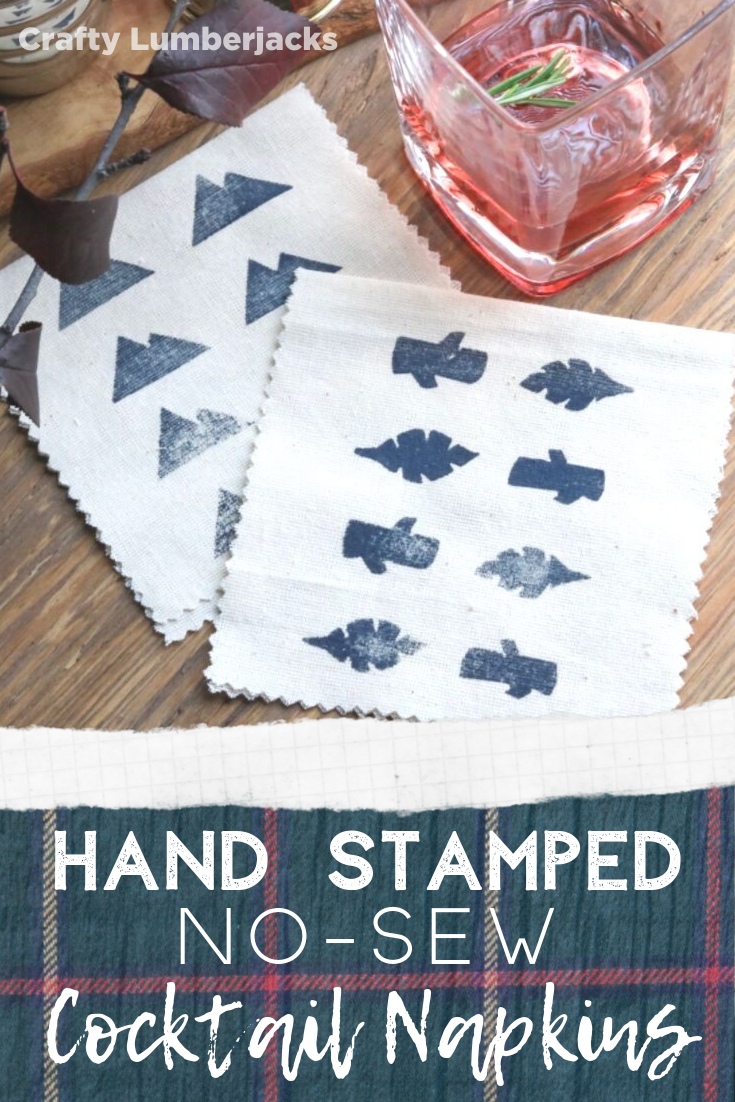 DIY Hand Stamped No-Sew Cocktail Napkins - Create your own stamp using craft foam and make your own seasonal #handstamped #cocktail napkins for any occasion!  #fall #falldiy #thanksgiving #hosting #easydiy #thanksgivingtable #barcart #craftylumberjacks #holidayparty