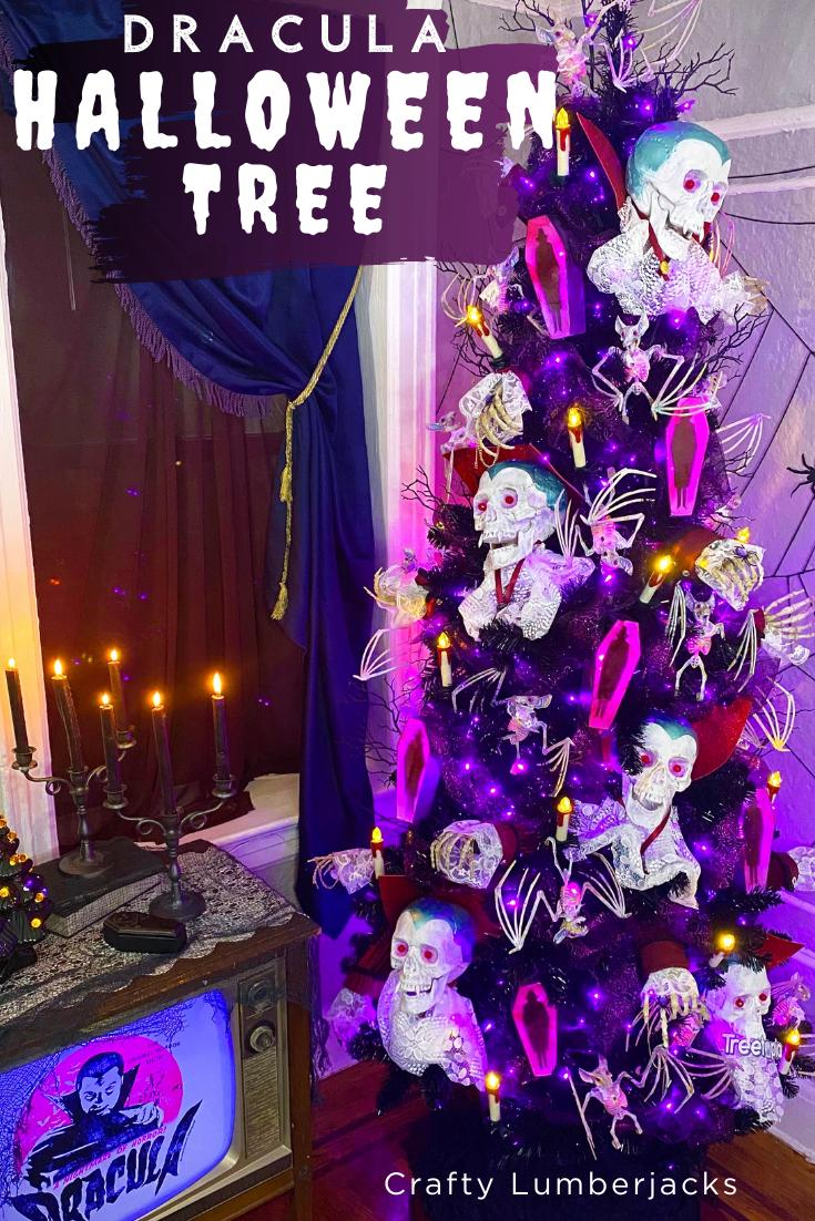 DIY Halloween Tree-This years theme, Dracula! #halloween #halloweendecorations #diyhalloween #halloweentree #treetopia #Treetopiacraftylumberjacks #TreetopiaHalloween #trickortreat #pumpkin #spooky #happyhalloween #fall #Halloweencostume #october #scary #halloweenparty #Dracula #countdracula #vampire #vampires #TreetopiaHauntingTales #Treetopia13HauntingTales #dollartree #dollartreediy #dollartreehalloween #whatwedointheshadows #halloweenchristmastree #bats #diybats #diycoffin #alcoholink #oldnavy #vintagetv