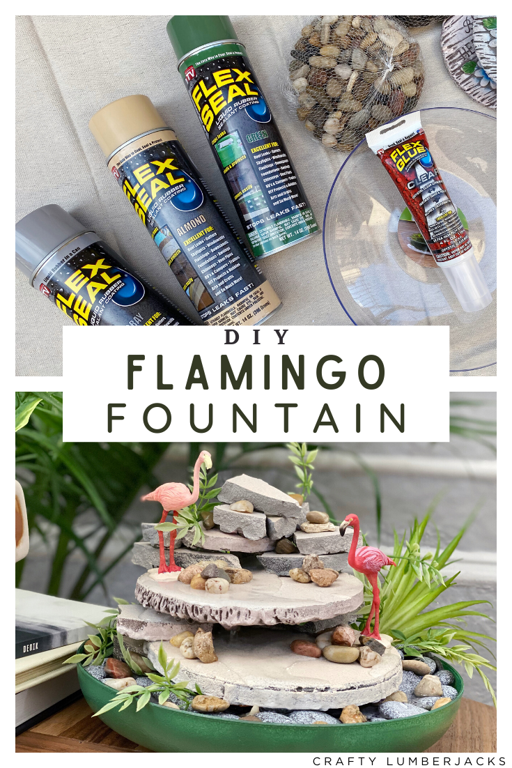Create a relaxing tabletop fountain with Flex Seal and a quick trip to Dollar Tree!  #FlexSealAmbassador #diyfountain #dollartreecrafts #diydollartree #fountain #indoorgarden #indoorfountain #homedecor #zen #relaxing #homedecordiy #cozyapartment #flexsealcolor #flexsealspray #flexglue #stressrelief #waterpump #waterfeature #dollartreegarden #homeofficedecor #flamingoministures #flamingodiy #gardendiy #fountainidea #waterfountain #rocks #pebbles #calm #calming