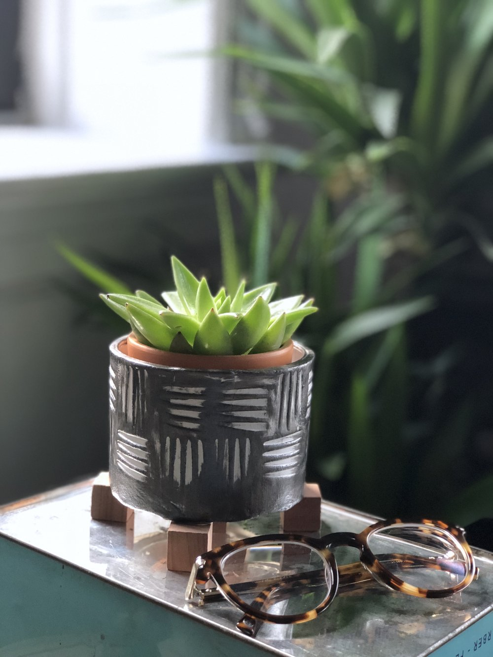 DIY Air Dry Clay Retro Textured Planters #midcenturymodern #upcycle #recycle #succulents