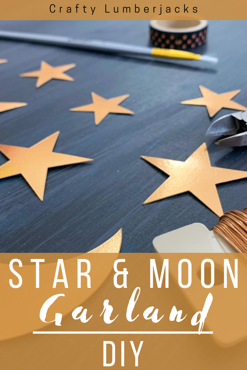 DIY easy paper star and moon garland with floral wire. #cricut #madewithcricut #cricutmade #halloweendecor #mystical #fortune #fortuneteller #halloweentree #halloweencristmastree #starsandmoon #craft #diy #spooky #psychic #gold #foil #foilpaper #cricutmaker #halloweencraft #halloweengarland #garland #christmasgarland #newyearsgarland #birthadygarland #hannukagarland #diygarland #easyhalloween #fastcraft #cricutair #halloweendecorations #decorations #halloweenhack
