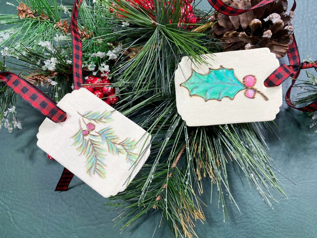 DIY Wood Burned Watercolored Holiday Gift Tags
